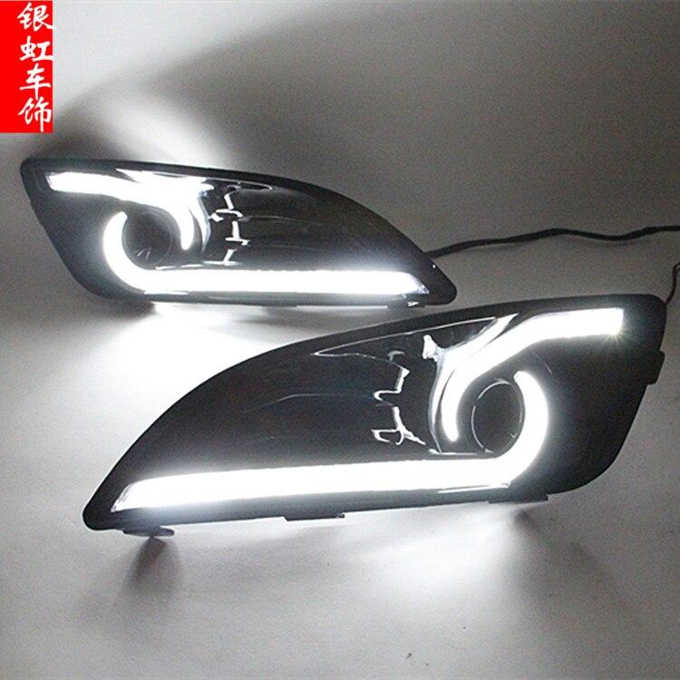 LED DRL pour ford fiesta 2013-16 avec double guidage clair et jaune clignotants roman conception de qualité supérieure