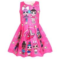 2019 surprise kids clothes cartoon sleeveless doll dress jacquard dress baby girl clothes vestidos 8631