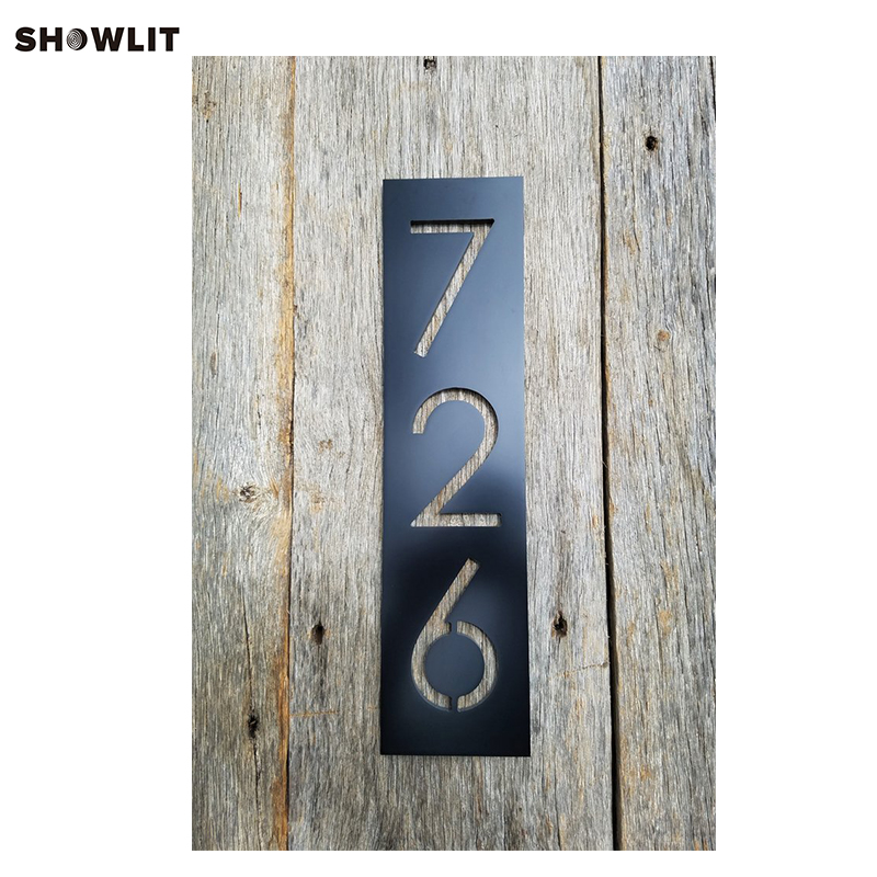 BLACK HOUSE NUMBERS VERTICAL MODERN ADDRESS PLAQUE SIZE OPTIONS CUSTOM MADE