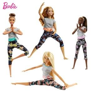 Image 1 - 7 stil Original Barbie Mode Trends Blume Hosen Yoga Puppe Alle Gemeinsamen Bewegung Gymnastik Tänzerin Maß Zu Bewegen Barbie Puppe spielzeug