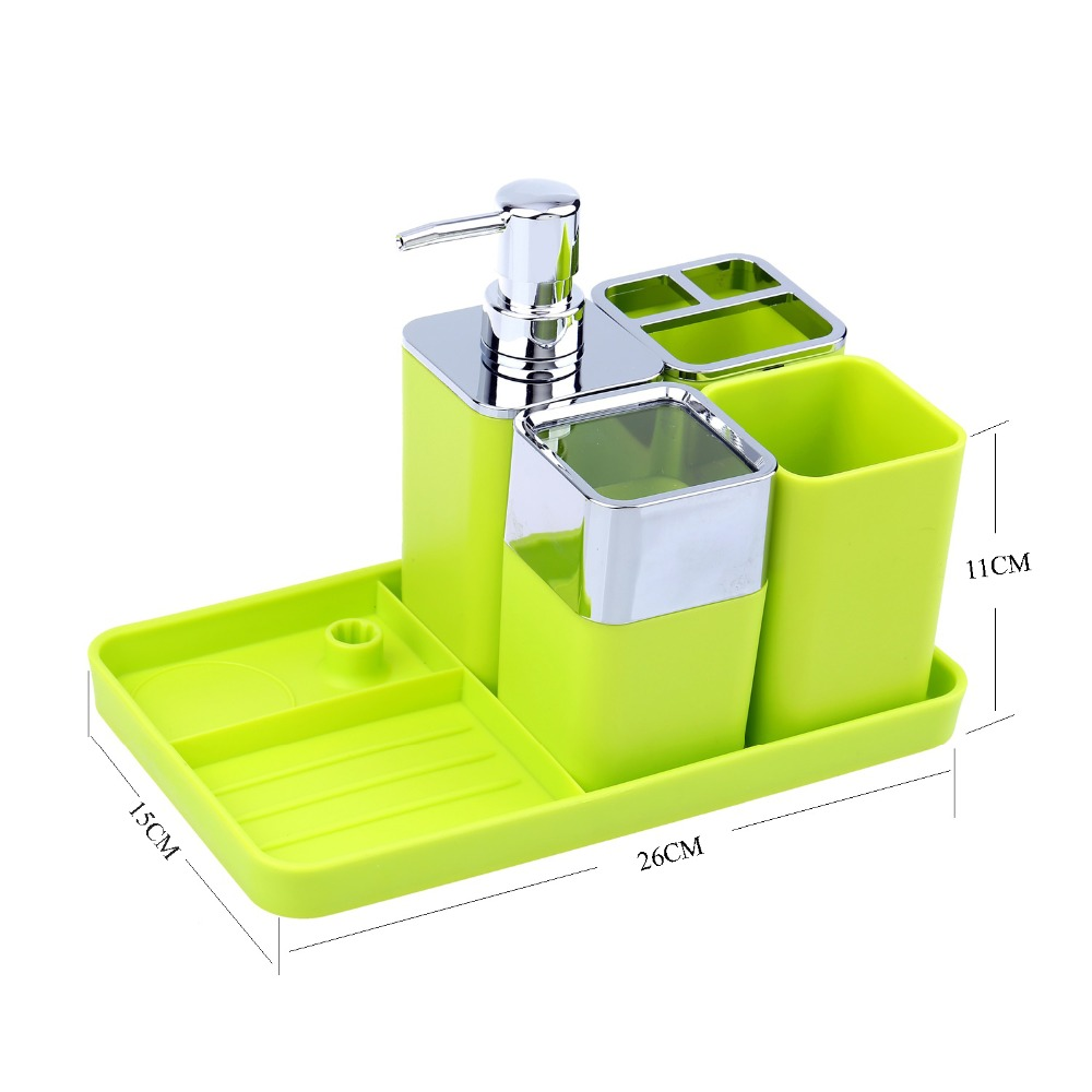 Plastic Bathroom Accessories Set Soap Dispenser Soap Dish