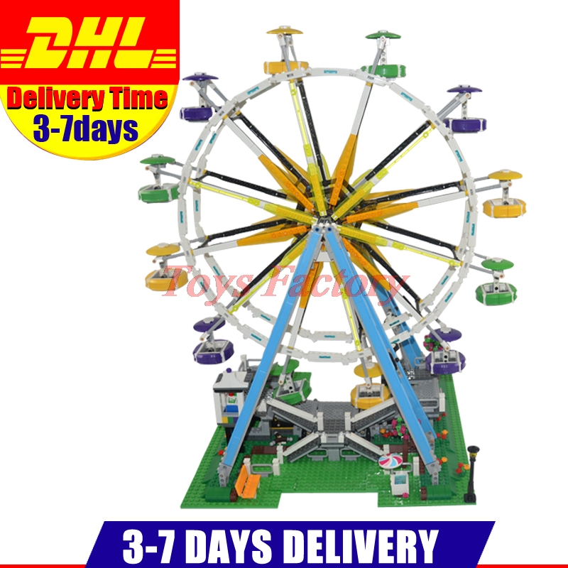 DHL Lepin 15012 City Street Ferris Wheel Model Building Kits Set Assembling Blocks Toy Compatible 10247 Birthday Toys dhl lepin 15012 2518pcs city expert ferris wheel model building kits blocks bricks toys compatible with legolyes 10247 toys