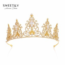 Royal Crystal Princess Crown Rhinestone Tiara Bridal Headpieces Women Hair Jewelry Accessories for Prom Party Pageant