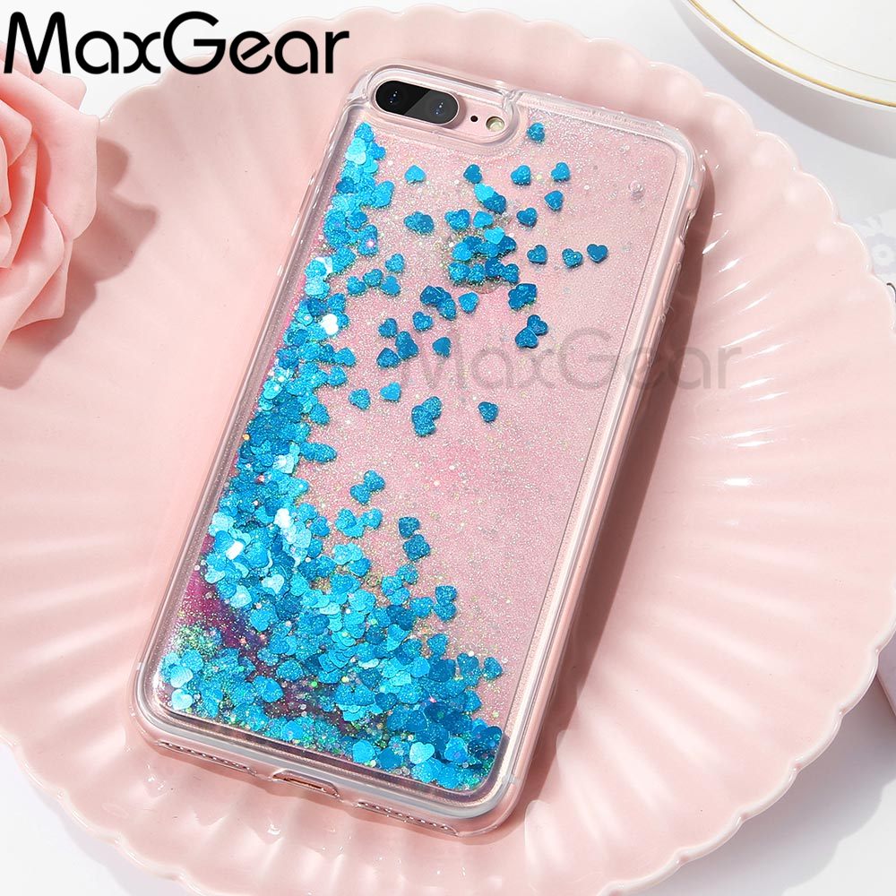 MaxGear Glitter Liquid Quicksand Cover For iPhone 7 8 Plus Case Sequin Phone Cases For iPhone 6 6S 7 5 5S SE PC+Silicon Shell