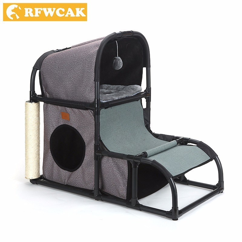 RFWCAK Cat Toy House Bed Hanging Balls Tree Kitten Furniture Scratchers Solid Wood for Cats Climbing Frame Removable Cat Condos