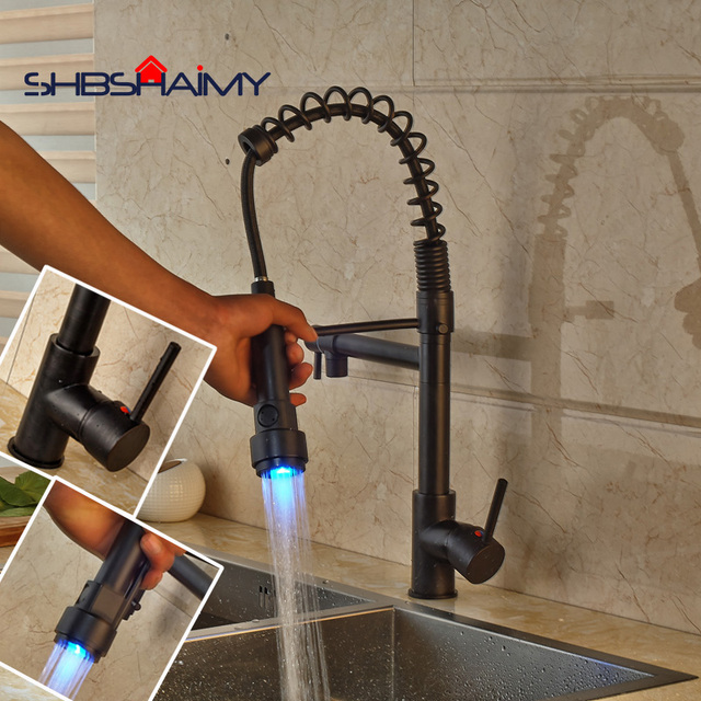 Oil Rubbed Bronze Kitchen Sink Faucet With Led Pull Out Down Sprayer