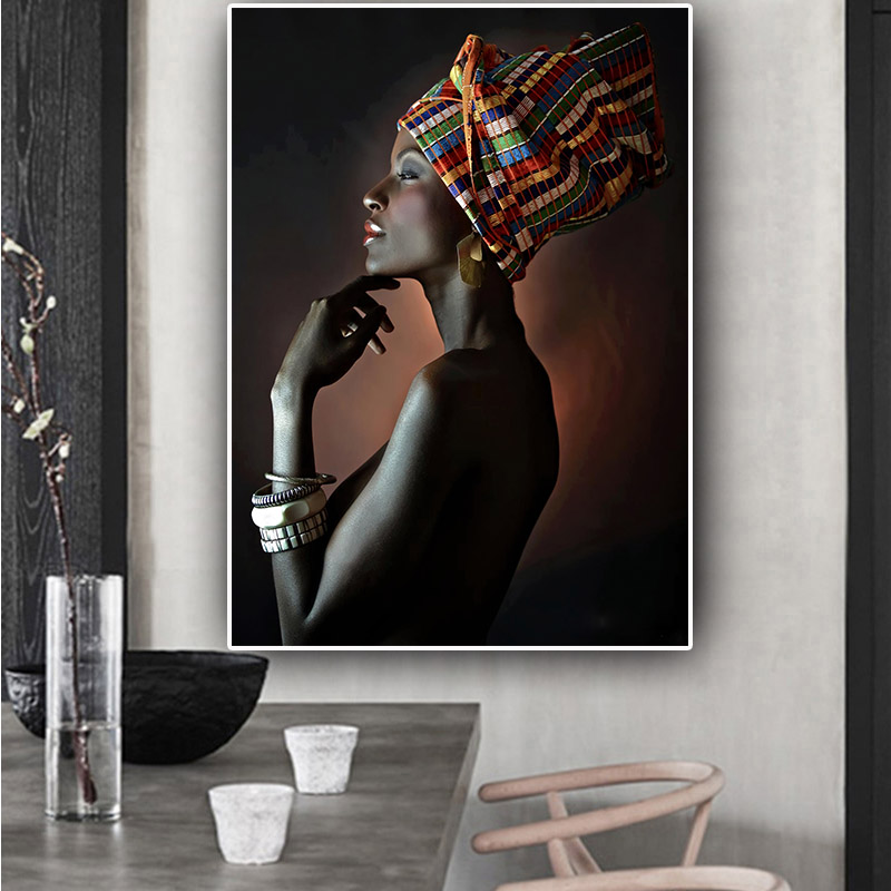 African Nude Woman Indian Headband Portrait Canvas Painting Posters And Prints Scandinavian Wall Art Picture For Living Room