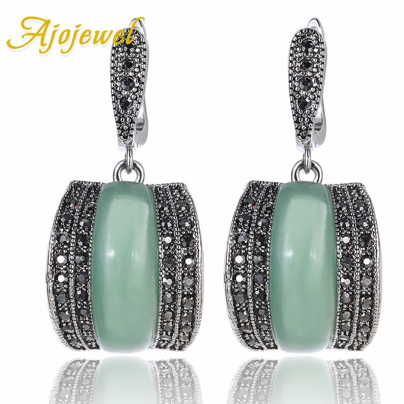 Ajojewel Luxury Geometric Green Stone Vintage Earrings For Women Antique Silver Color Black Rhinestone Drop Earrings Original цена 2017