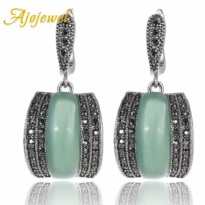 Ajojewel Luxury Geometric Green Stone Vintage Earrings For Women Antique Silver Color Black Rhinestone Drop Earrings Original