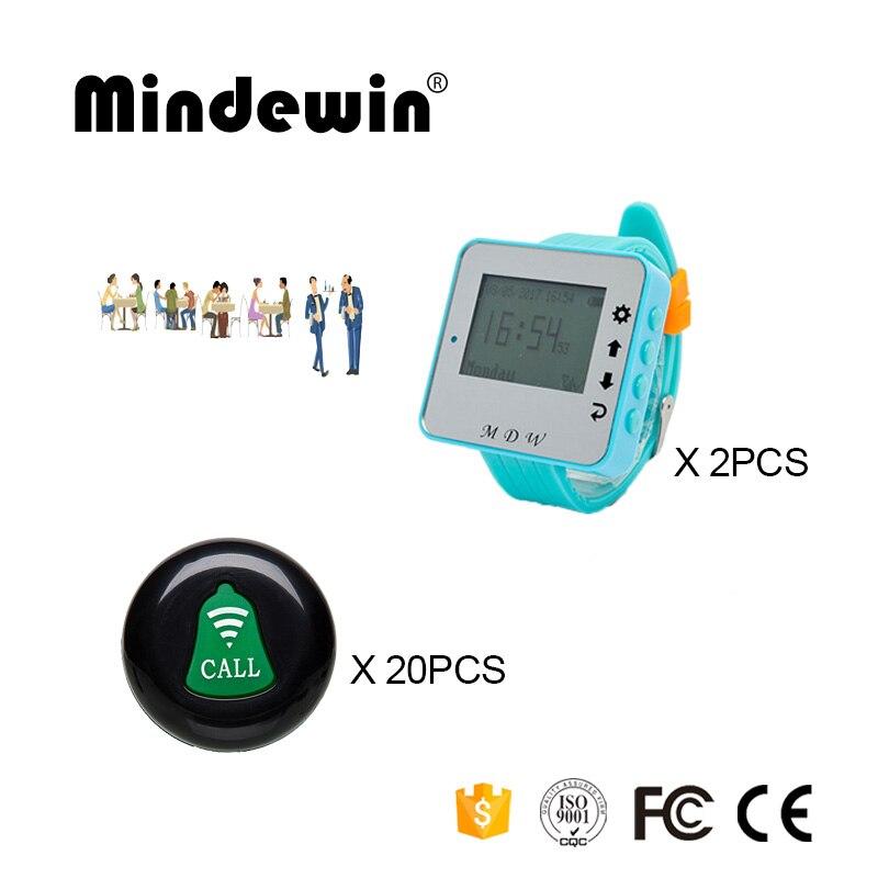 Mindewin Restaurant sans fil caboteur système de téléavertisseur 20 pièces Table appel boutons M-K-1 + 2 pièces montre-bracelet téléavertisseur M-W-1