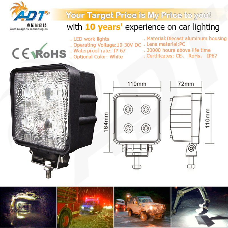 1pcs 10-30V DC 40W 4* Cr led 6000K 4.3 inch led work light for Project Vehicles,SUV, Excavators,Wheel Loaders CE, RoHs, IP67 new solenoid assembly 708 2l 25211 for pc250lc 6lc 6l wheel excavators