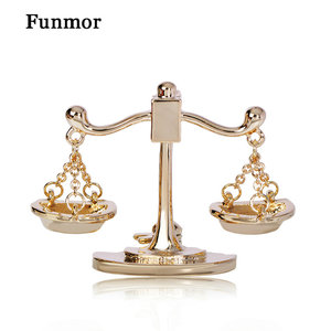 Funmor Casual Balance Brooch Enamel Pins Judge Prosecutor Coat Lapel Blazer Decoration Jewelry Court Routine Accessories Gifts