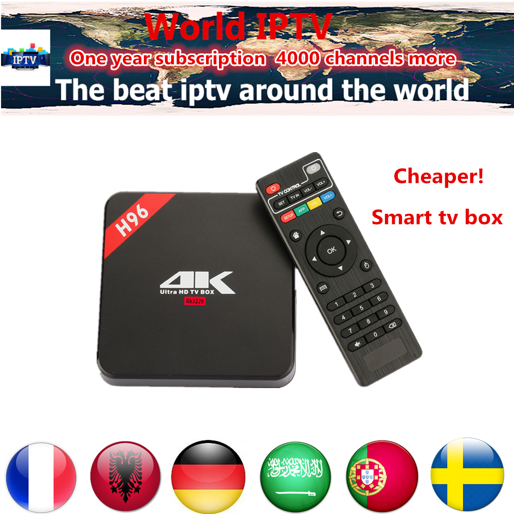 H96 Android 6.0 TV box with 1 year portugal channels xxx Europe UK IPTV 5000 Channels S905 media player Android 6.0 Smart tv box