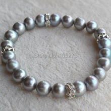 Новое поступление жемчужный браслет 6,5 дюймов 7-8 мм серый пресноводный жемчуг браслет с хрустальными бусинами ювелирные изделия Свадебные ювелирные изделия для подружек невесты