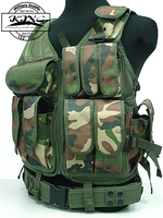 4 Color Tactical Military Airsoft Paintball Outdoor Combat Vest Mesh Pouches Vest Black/Green/Tan/Woodland Camo