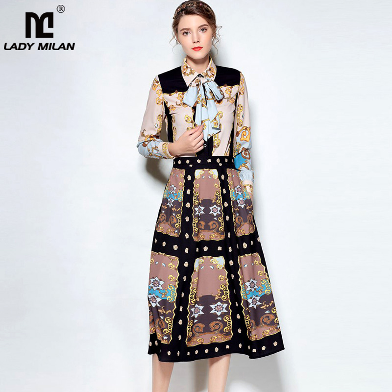 2018 Womens Turn Down Collar Long Sleeves Bow Detailing Shirts with Printed Skirts Fashion Runway Twinset Causual Sets