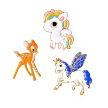 WKOUD 3 Style Enamel Pony Horse Unicorn Deer Brooch Pin Button Jacket Collar Badge For Women Men Child Cartoon Animal Jewelry(China)