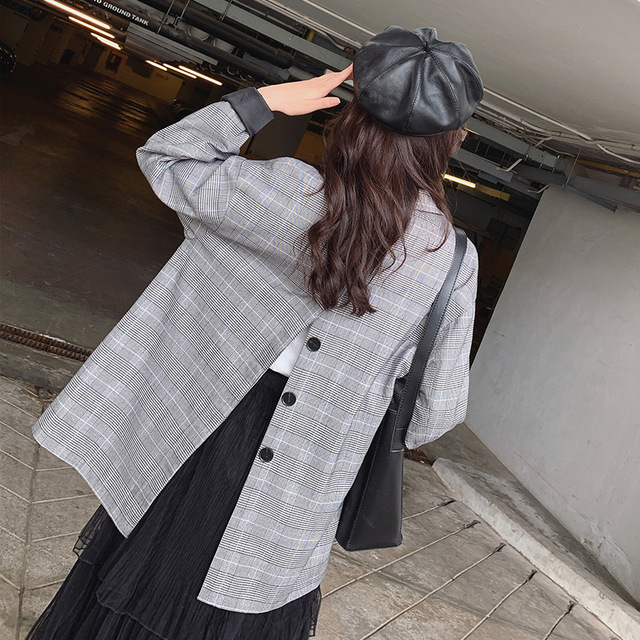 LANMREM 2019 New Spring Loose Long-sleeved Back Buckle Patchwork Design Plaid Blazer For Women Fashion Casual Jacket QF15602