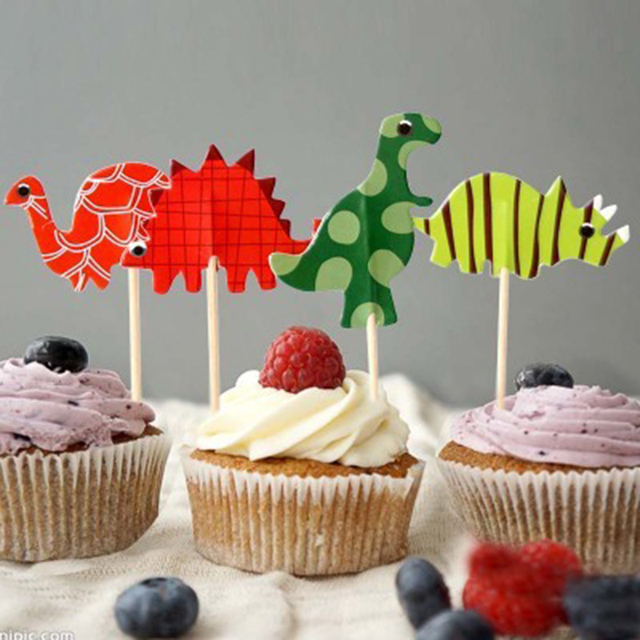 24pcsset Dinosaur Toppers Picks Cupcake Topper Baby Shower Supplies