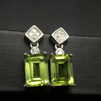 Almei Natural Peridot Earrings for Women, 925 Sterling Silver, 5*7mm*2 Pcs August Birthstone Gemstone Birthday Gift FR111