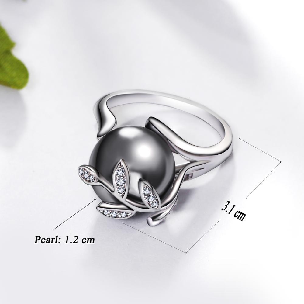 Rozā zelta gredzens ar pelēku pērli sievietēm Leaf Trendy - Modes rotaslietas - Foto 6