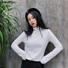 def6c175e39f T-shirts Femmes Col Roulé Solide Simple Tout-Allumette Loisirs Chic T-shirt