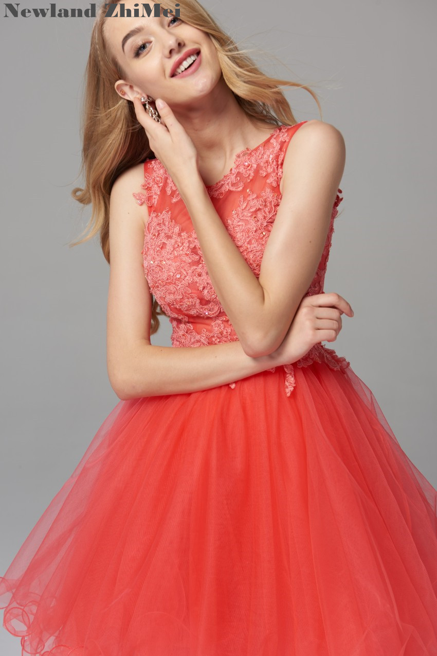 New Arrival 2019 Orange Red   Cocktail     Dress   Elegant Applique Bead Tulle Sexy Open Back Ball Gown Homecoming   Dresses
