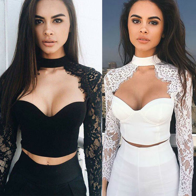 6257a6b7ec3b4 Fashion Summer Autumn Women Sexy Blouse Lace Splice Solid Color Halter Crop  Tops Ladies Girls Bottom