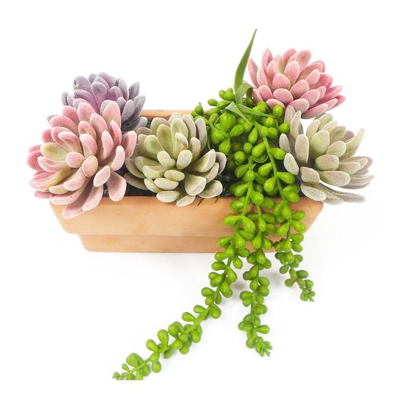 ИНДИГО- 5 бр. Плюшена лотос Ехеверия Елегантна Изкуствена сукулентна растителна пластмасова украса за цветя Зелен фон Безплатна доставка