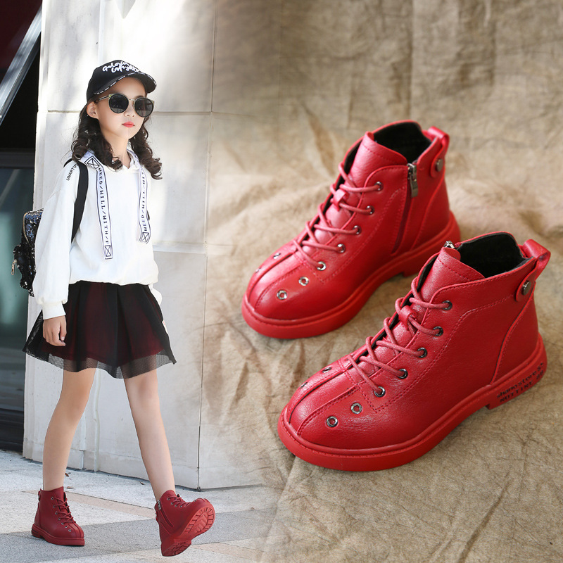 Children's Martin Boots 2018 New Girls Princess Shoes Snow Boots Winter Warm Shoe Waterproof Comfortable Footwear Red Black Pink
