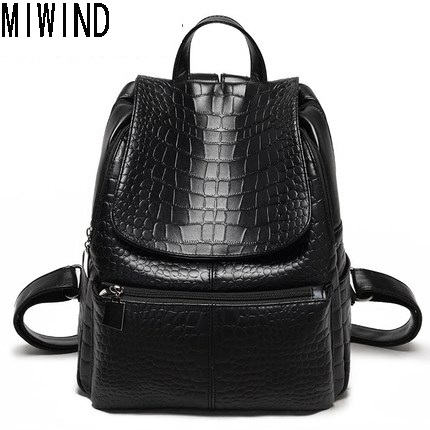 Fashion Women Alligator Backpacks For Teenage Girls Casual Ladies Student School Bags Female Shoulder Women Back Pack TYF1126
