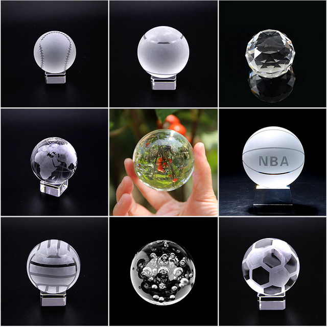 4cm Quartz Crystal Sphere Ball Fengshui Paperweight Glass Crafts Stone Figurines Home Decor Ornaments Miniature Sports Souvenir
