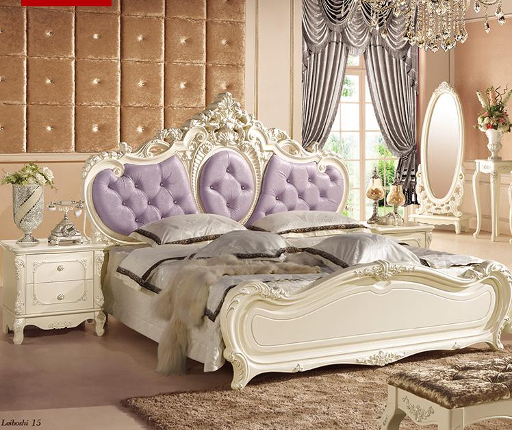 Korean Princess Bedroom Furniture Garden 1.8m Bed Room Four Door Wardrobe Dressing  Table Stool