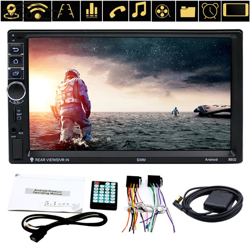 7 2 Din Touch Screen Car Stereo MP5 Player 4Core Android OS Bluetooth WIFI GPS Navigator Auto FM Radio Autoradio Mirror Link 7 touch screen 2 din quad core car radio android 7 1 wifi bluetooth auto mp5 player gps navigator autoradio with reverse camera