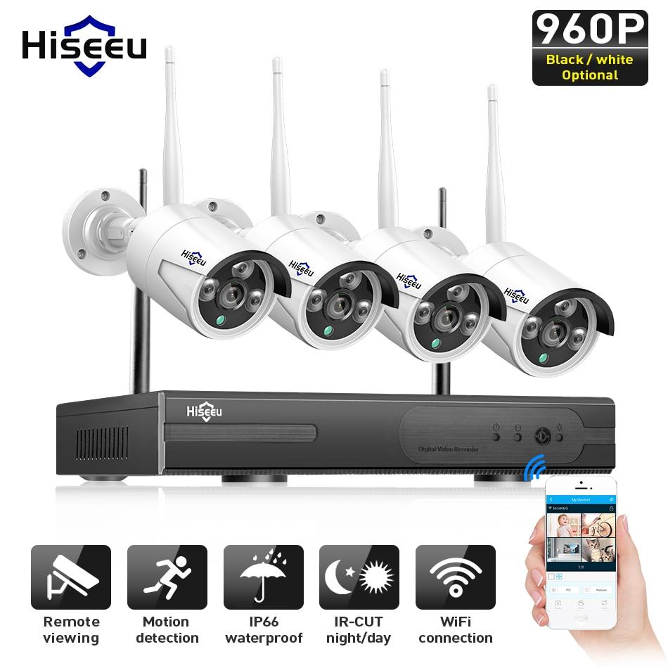 Hiseeu Sans Fil CCTV Système de caméra 960 P 4ch 1.3MP IP Caméra étanche extérieure P2P Sécurité À La Maison Système vidéo Surveillance Kits