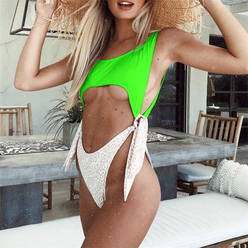 Neon Green Thong One Piece Swimsuit 2019 High Cut Leopard Swimwear Women Knot Waist Monokini Out Bathing Suit