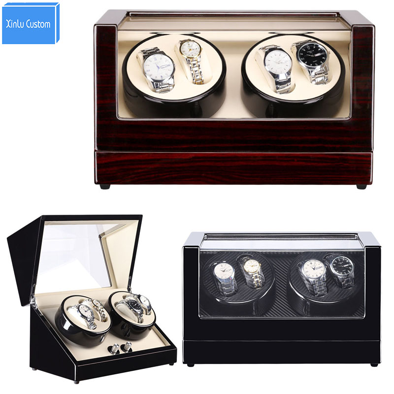 Watch Winder 4+0 Grids Lacquer Black Wood Luxury Watch Winders Rotate Watches Case for Automatic Watches Japan Mabuchi Motor Box ultra luxury 2 3 5 modes german motor watch winder white color wooden black pu leater inside automatic watch winder