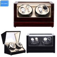 Watch Winder 4+0 Grids Lacquer Black Wood Luxury Watch Winders Rotate Watches Case for Automatic Watches Japan Mabuchi Motor Box