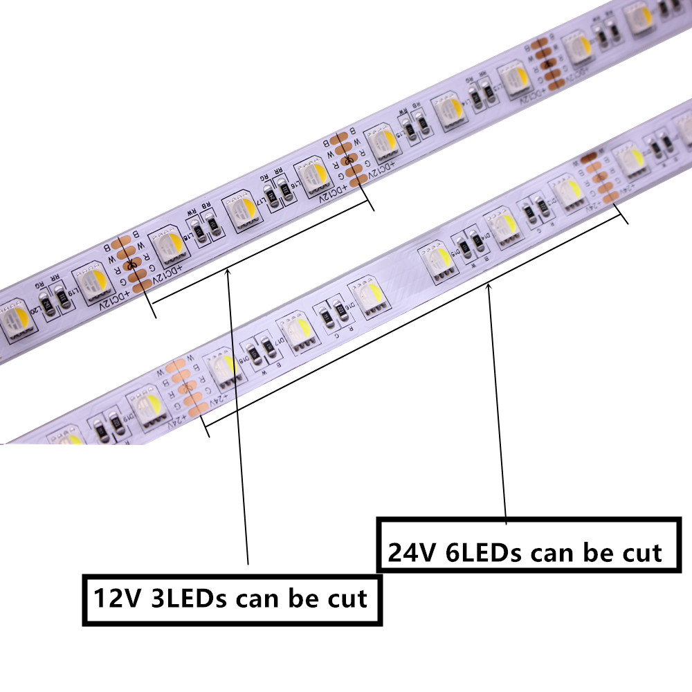 DC12V 24V 5m Led Strip 5050 SMDRGBW RGBWW 4 Colors in 1 Chip Led Flexible Strip Light RGB + White / Warm White indoor decoration