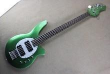 Metalic Green Custom Music Man Bass Bongo 5 Strings Electric Bass Guitar Musicman with active pickups 9V battery Free Shipping