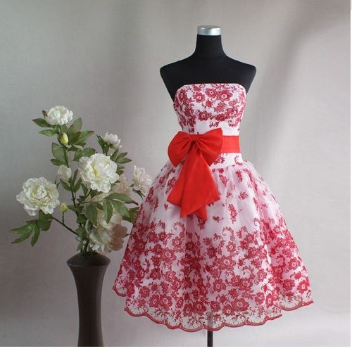 Free Shipping Red   Cocktail     Dress   Short Embroidery Party   Dress   Strapless Flowers A Line Celebrity Gowns vestidos de festa