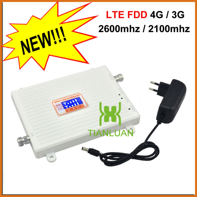 LCD Display 4G FDD LTE 2600MHz 3G W-CDMA UMTS 2100MHz Dual Band Mobile Phone Signal Booster 3G 4G Signal Repeater With 12v Power