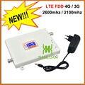 Pantalla LCD 4G LTE FDD 2600 MHz 3G W-CDMA UMTS 2100 MHz Dual banda de Teléfono Móvil Amplificador de Señal 3G 4G Repetidor de Señal con 12 v poder