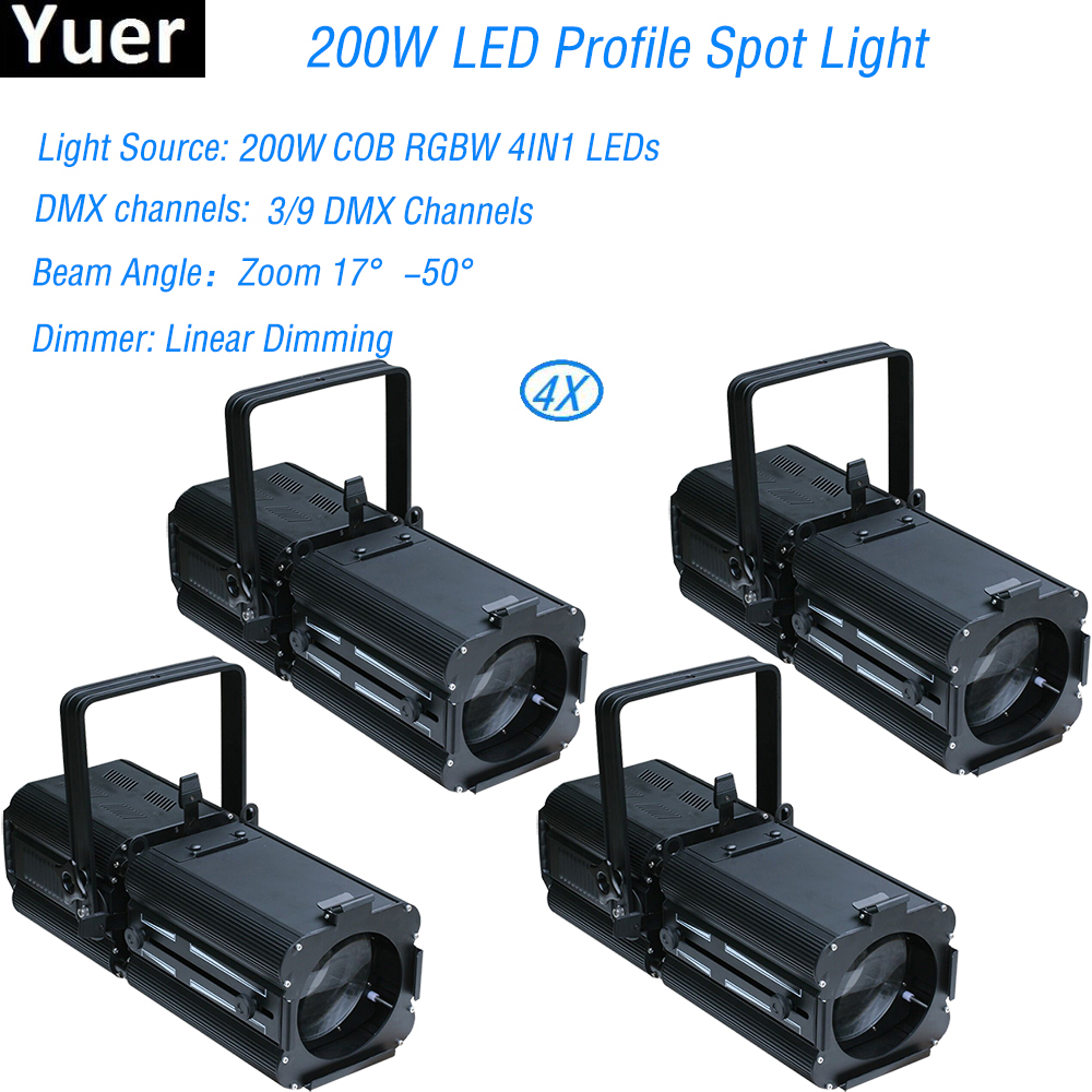 4Pcs/Lot New 200w LED Profile Spot Light Warmwhite/Purewhite/Coldwhite/RGBW Optional TV DJ Aluminum Projector Show Spotlight-in Stage Lighting Effect from Lights & Lighting    1