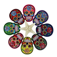 ISHOWTIDENDA   10pcs DIY Embroidered Cloth Iron On Patch Sew Motif Applique Skull