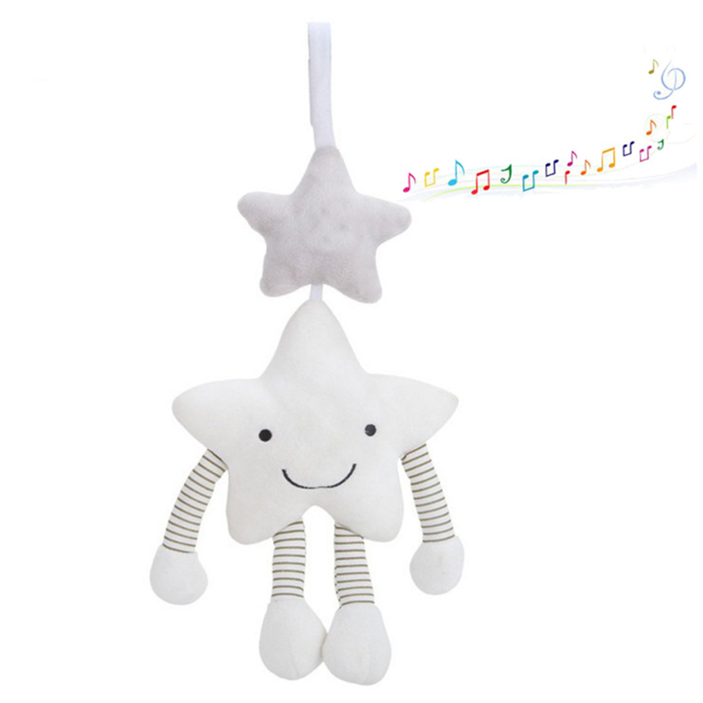 Cute Baby Toys White Five-Pointed Star Music Toy Wind Chime Hanging Soft Stroller Bed Hanging Bed Bell Plush Toy
