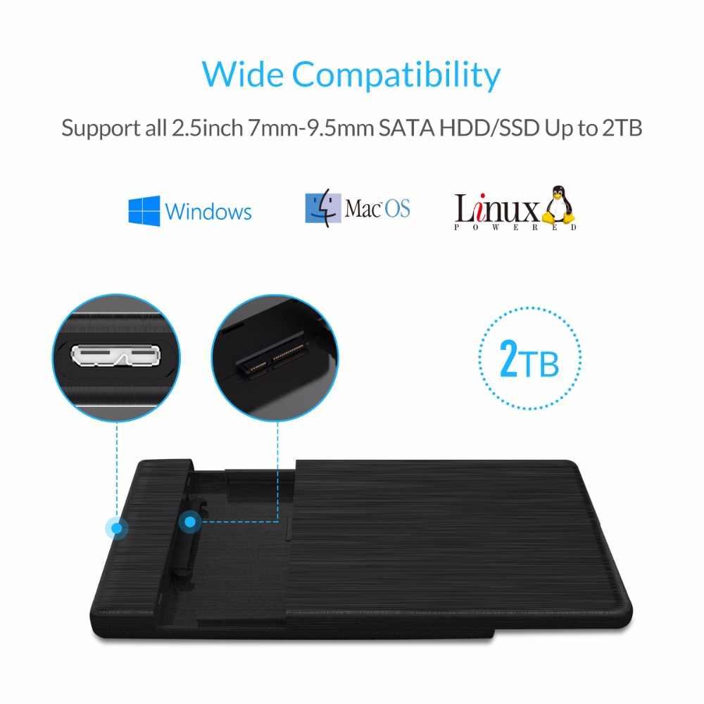 Carcasa ORICO HDD 2,5 SATA a USB 3,0 carcasa de disco duro para disco duro SSD caja HDD tipo C 3,1 soporte UASP HD disco duro externo