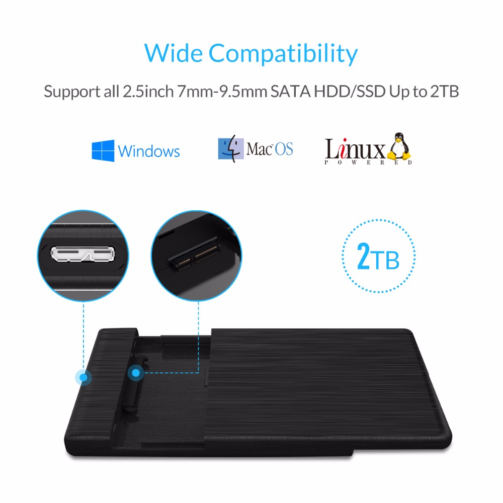 ORICO HDD Case 2.5 SATA To USB 3.0 Hard Drive Enclosure For SSD Disk HDD Box Type C 3.1 Case Support UASP HD External Hard Disk