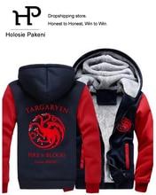 Dropshipping 2017 Game of Thrones House Targaryen Jacket Zipper Sweatshirt Winter Warmth Fleece Thicken Hoodies Coat