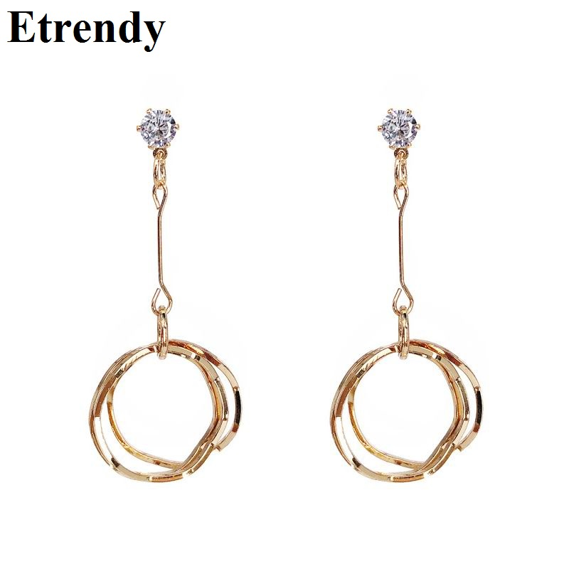 Korean Circle Long Drop Earrings For Women 2019 Fashion Jewelry Geometric Simple Earring Wholesale Bijoux Personality